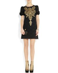 Dolce & Gabbana | Black Tulle And Guipure Lace Dress | Lyst