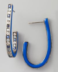 M.c.l  Matthew Campbell Laurenza | Mixed Pave Sapphire J Hoop Earrings Blue | Lyst