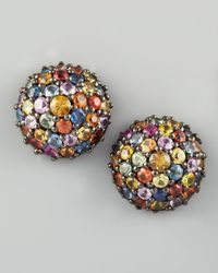 M.c.l  Matthew Campbell Laurenza | Multicolor Pave Sapphire Stud Earrings | Lyst
