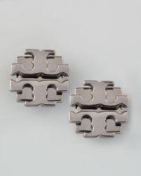 Tory Burch - Gray Small T-logo Stud Earrings - Lyst