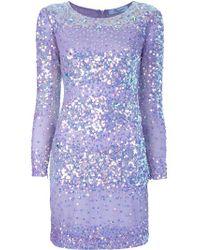 Blumarine | Silver Sparkly Striped Dress | Lyst