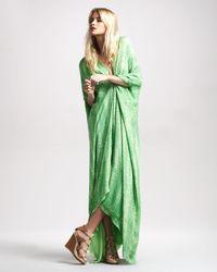 Roberto Cavalli | Green Snake-print Caftan Gown | Lyst