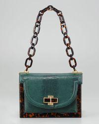Tory Burch | Green Lizard-Embossed Small Resin Frame Bag  | Lyst