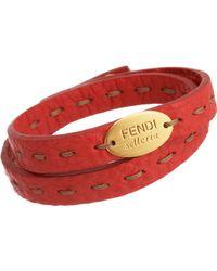 Fendi | Red Selleria Bracelet | Lyst
