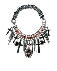 ASOS | Black Premium Spike Jewel Cross Necklace | Lyst