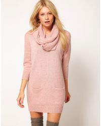 ASOS Collection - Pink Asos Jumper Dress with Matching Snood - Lyst