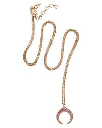 Rebecca Minkoff - Pink Pave Small Double Horn Pendant - Lyst