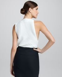 Donna Karan - White Draped Cowlneck Top - Lyst