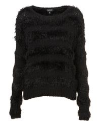 TOPSHOP | Black Knitted Fluffy Stripe Jumper | Lyst