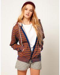 ASOS - Brown Hoodie in Neon Stripe - Lyst