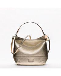 COACH - Metallic Hamptons Weekend Leather Mini Bucket Crossbody - Lyst