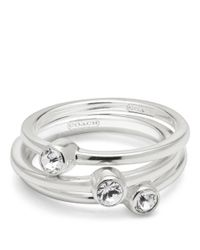 COACH | Metallic Sterling Pave Stacking Rings | Lyst