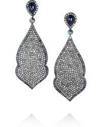 Artisan - Metallic 18karat Goldplated Diamond and Sapphire Earrings - Lyst