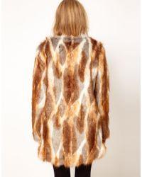 ASOS Collection | Brown Longline Natural Patchwork Fur Coat | Lyst