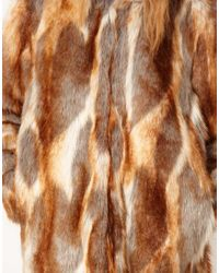 ASOS Collection | Brown Longline Natural Patchwork Fur Coat | Lyst