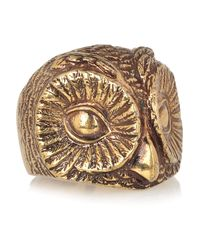 Burberry | Metallic Burnished Goldtone Owl Ring | Lyst