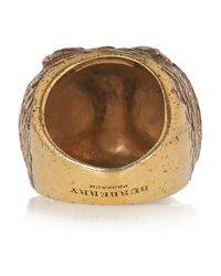Burberry - Metallic Burnished Goldtone Owl Ring - Lyst