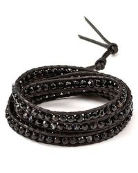 Chan Luu - Black Five Leather Sardonyx Wrap Bracelet - Lyst