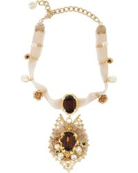 Dolce & Gabbana | Metallic Goldtone Crystal Necklace | Lyst