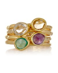 Monica Vinader | Metallic Siren Set Of Four 18karat Goldvermeil Stacking Rings | Lyst