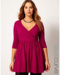 8bb609d9a0 Lyst - ASOS Skater Dress with Ballet Wrap in Purple