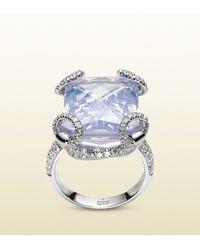 Gucci | Blue Lilac Quartz Horsebit Cocktail Ring | Lyst