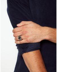 ASOS - Metallic Asos Chunky Cross Signet Ring for Men - Lyst