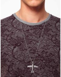 ASOS - Metallic Asos Plane Pendant Necklace for Men - Lyst