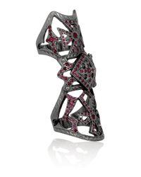 Loree Rodkin - 18karat Rhodium White Gold Ruby Armor Ring - Lyst