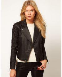 ASOS Collection | Black Asos Biker Jacket in Coated Denim | Lyst