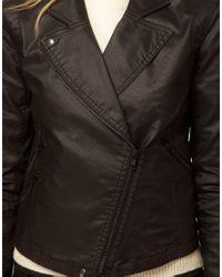 ASOS Collection - Black Asos Biker Jacket in Coated Denim - Lyst
