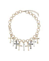 TOPSHOP - Metallic Cross Charm Collar - Lyst