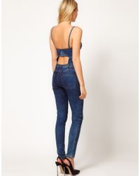 ASOS Collection | Blue Asos Sexy Bandeau Jumpsuit in Denim | Lyst
