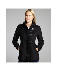 Kensie   Black Bow Toggle Ruffle Front Hooded Coat   Lyst