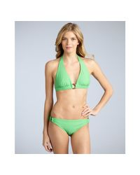 Shoshanna | Green Grass Solid Side Ring Bikini Bottom | Lyst