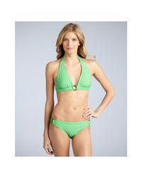 Shoshanna - Green Grass Solid Side Ring Bikini Bottom - Lyst