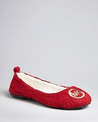 Michael Kors | Red Michael Cable Knit Slippers Jet Set Mk Logo Ballet | Lyst