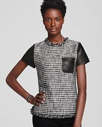 Rebecca Taylor | Black Top Short Sleeve Tweed with Patch Pocket | Lyst