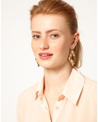 French Connection - Metallic Beaten Square Drop Earrings - Lyst