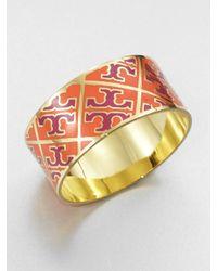 Tory Burch - Orange Enamel Logo Pattern Cuff Bracelet - Lyst