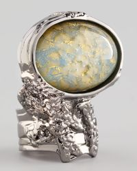 Saint Laurent | Metallic Silvertone Arty Ring  | Lyst