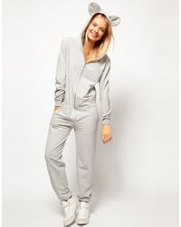 ASOS - Gray Onesie With Ears And Hood - Lyst