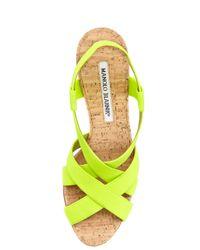 Manolo Blahnik - Yellow Lasti Crisscross Cork Slingback Sandal Orange - Lyst