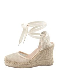 Valentino | Natural Lacecovered Espadrille Wedge Nude | Lyst