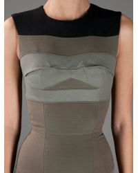 Victoria Beckham | Khaki Sleeveless Pencil Dress | Lyst