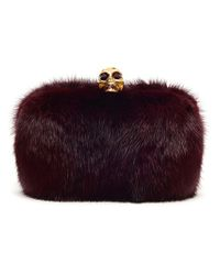 Alexander McQueen | Purple Oxblood Fur Skull Box Clutch | Lyst