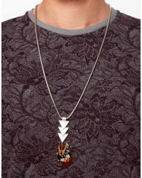ASOS | Metallic Asos Triangle and Feather Pendant Necklace for Men | Lyst