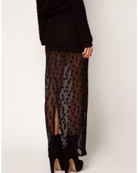 ASOS Collection - Black Asos Maxi Skirt in Mesh Spot - Lyst