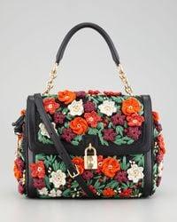 Dolce & Gabbana   Multicolor Miss Dolce Raffia Flower Padlock Flap Bag   Lyst