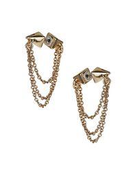 TOPSHOP - Metallic Double Spike Chain Earrings - Lyst